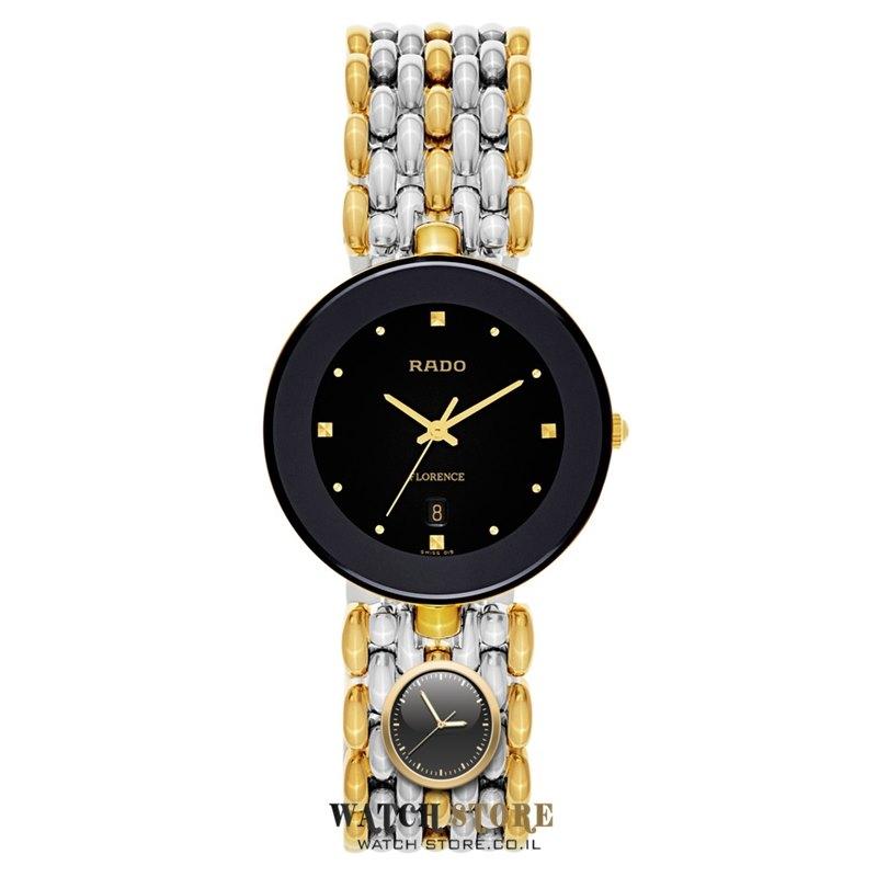 מדהים שעון ראדו פלורנס לוח שחור משולב זהב וכסף | קולקציית שעונים יוניסקס DN-32